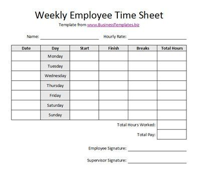Free Printable Timesheet Templates Free Weekly Employee Time - free timesheet template word