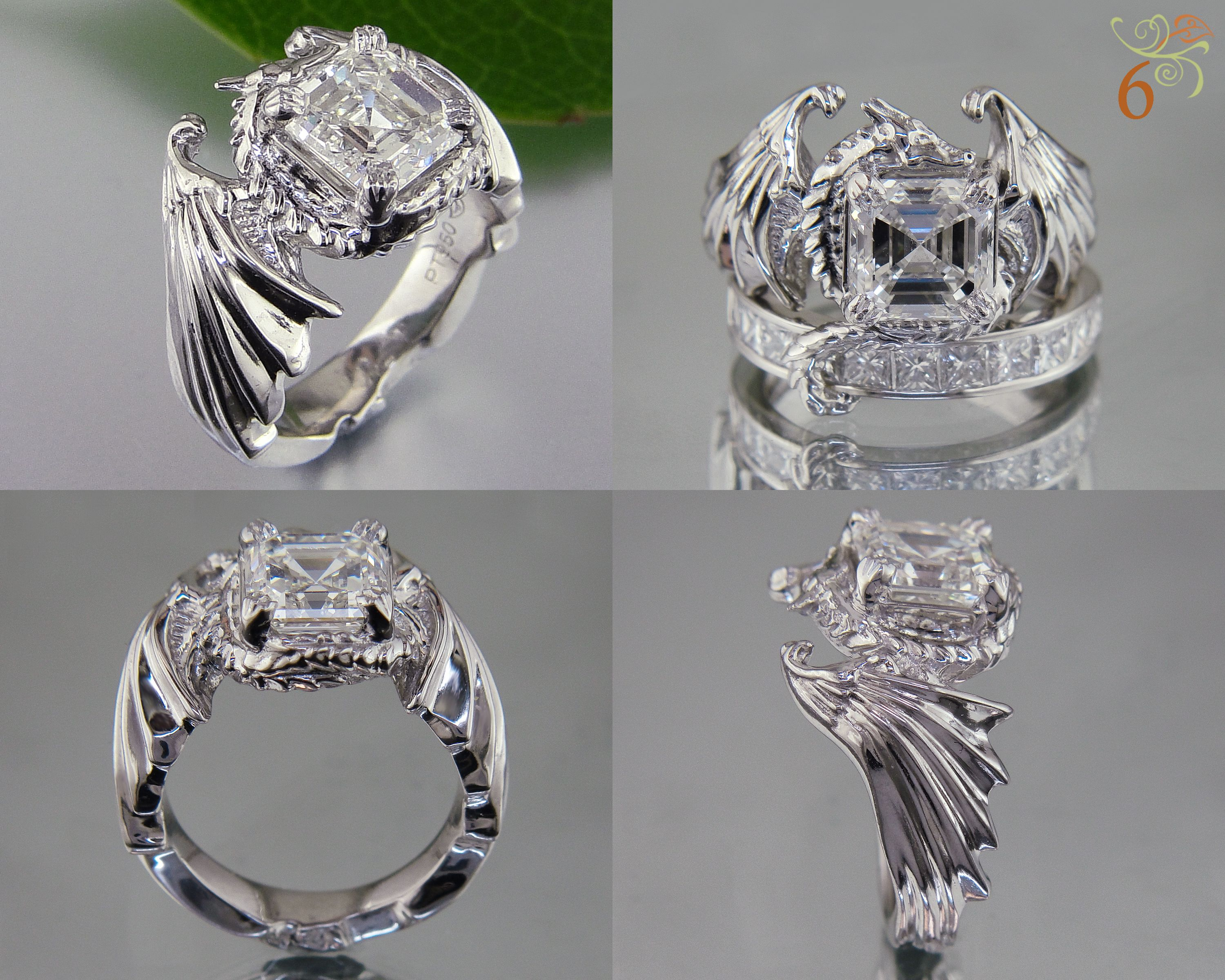 geek wedding rings marvel wedding rings Dragon ring with asscher centerstone and its tail wrapped over the top of the wedding band