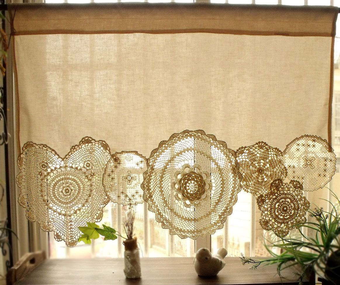 Küchengardinen Shabby Chic Boho Vintage Crochet Doilies Shabby Chic French Country Window