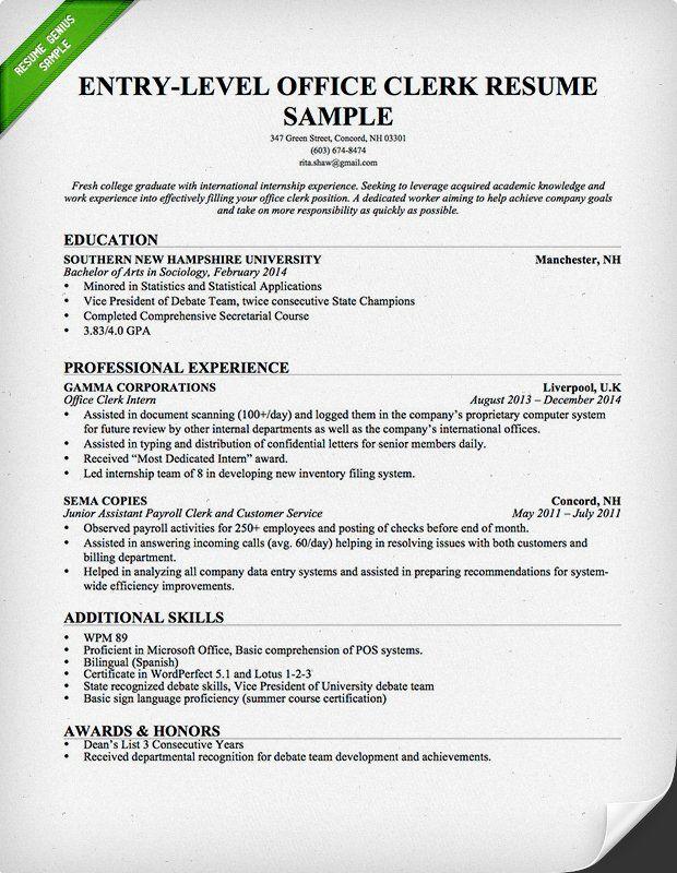 Office Clerk Resume Samples Entry-Level Office Clerk Resume - resume for office job
