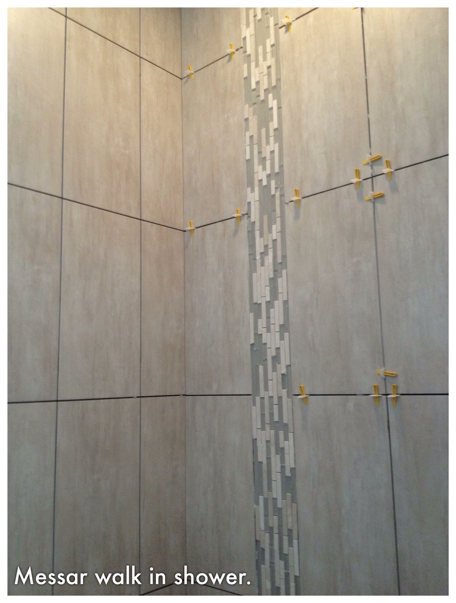 Waterfall Showers Designs Walk In Shower 12 X 24 Tiles And Vertical Waterfall Glass