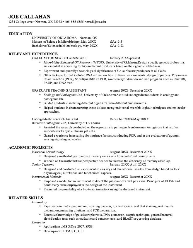 microbiology grad resume template