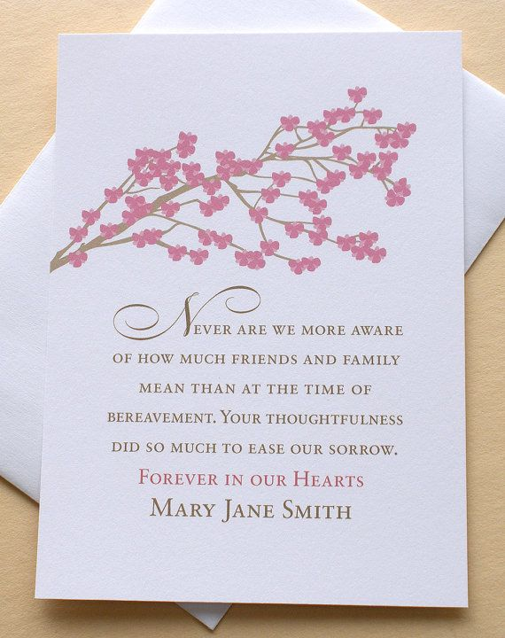 Funeral Thank You Sympathy Card with Rose Colored Blossoms - Set - funeral thank you note