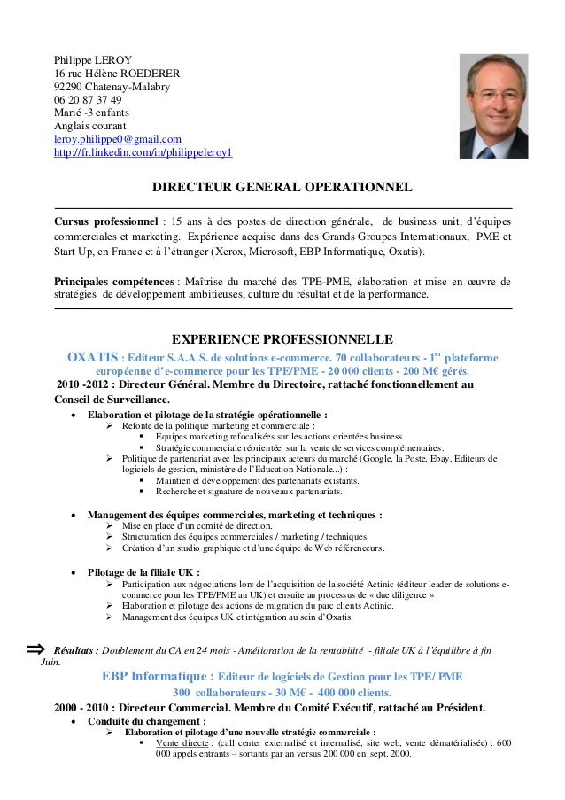 exemple de cv marketing operationnel