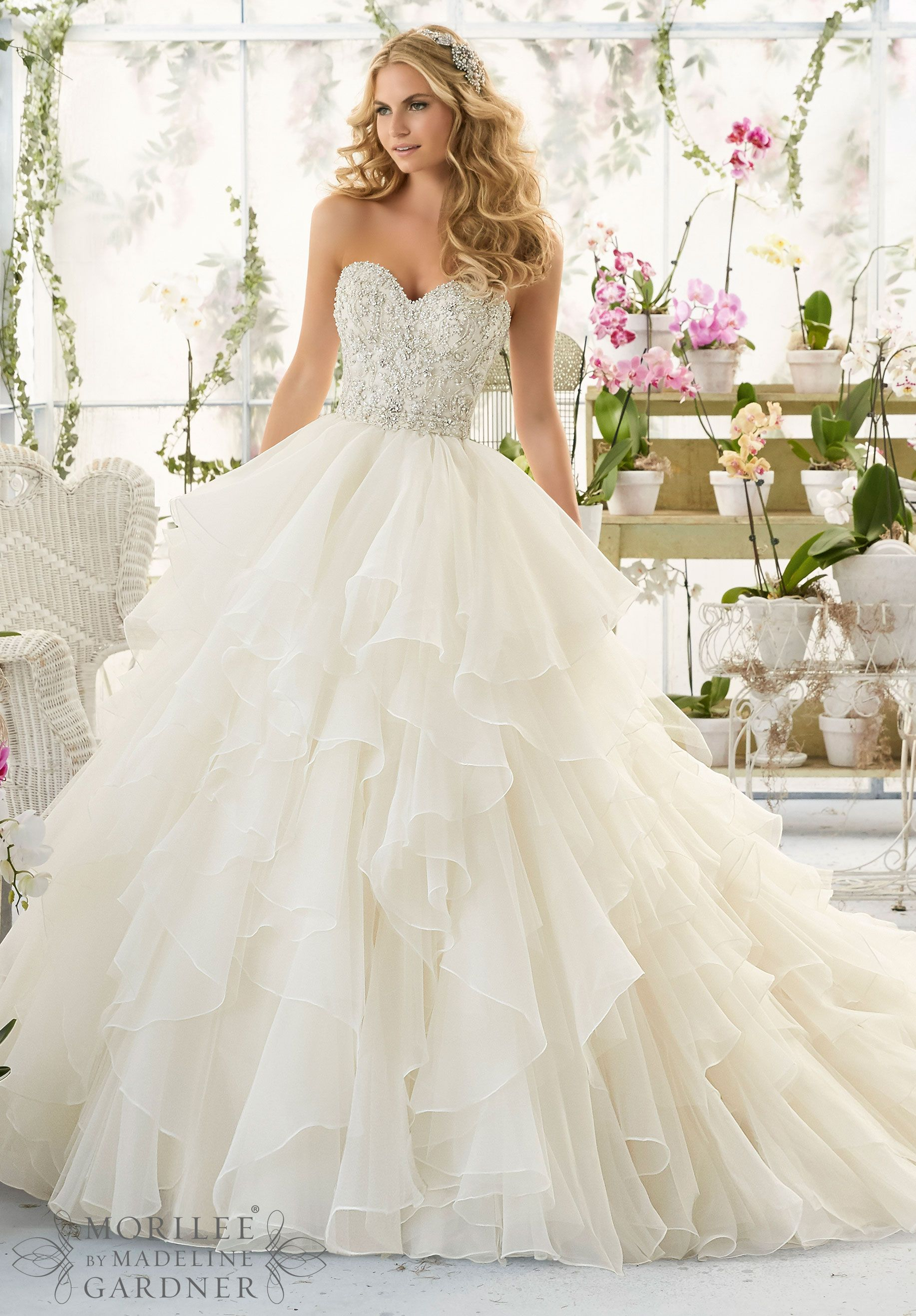 ivory wedding dresses Wedding Dresses and Wedding Gowns by Morilee featuring Intricate Crystal Beaded and Embroidered Bodice onto a