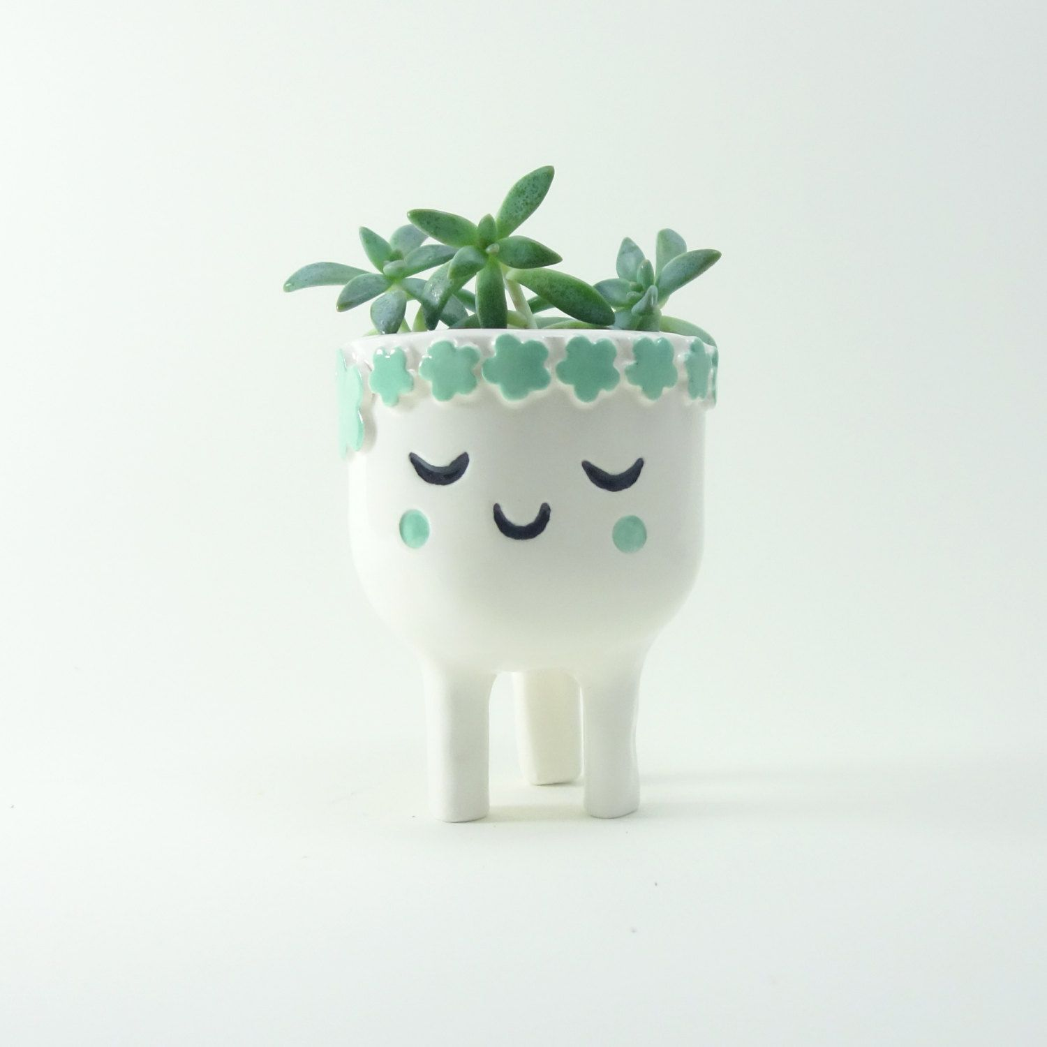 Cactus Planters Pottery Sleeping Lady Planter Face Plant Pot Quirky White