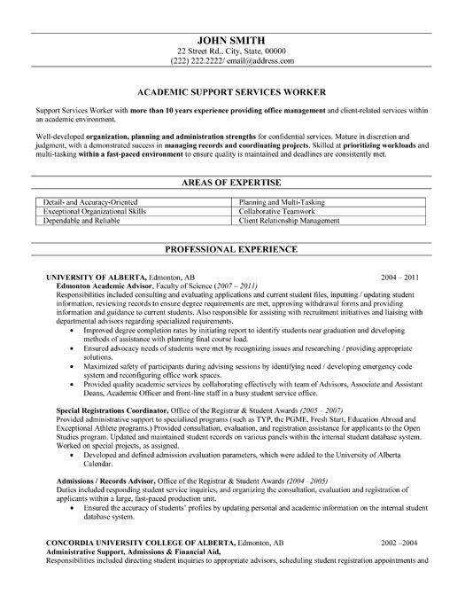 Click Here to Download this Academic Advisor Resume Template! http - higher education resume