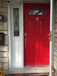 Perfect red door! I used Sherwin Williams in heartthrob ...