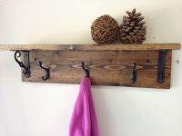 Handmade, wall mount, rustic wood coat rack with shelf. A ...