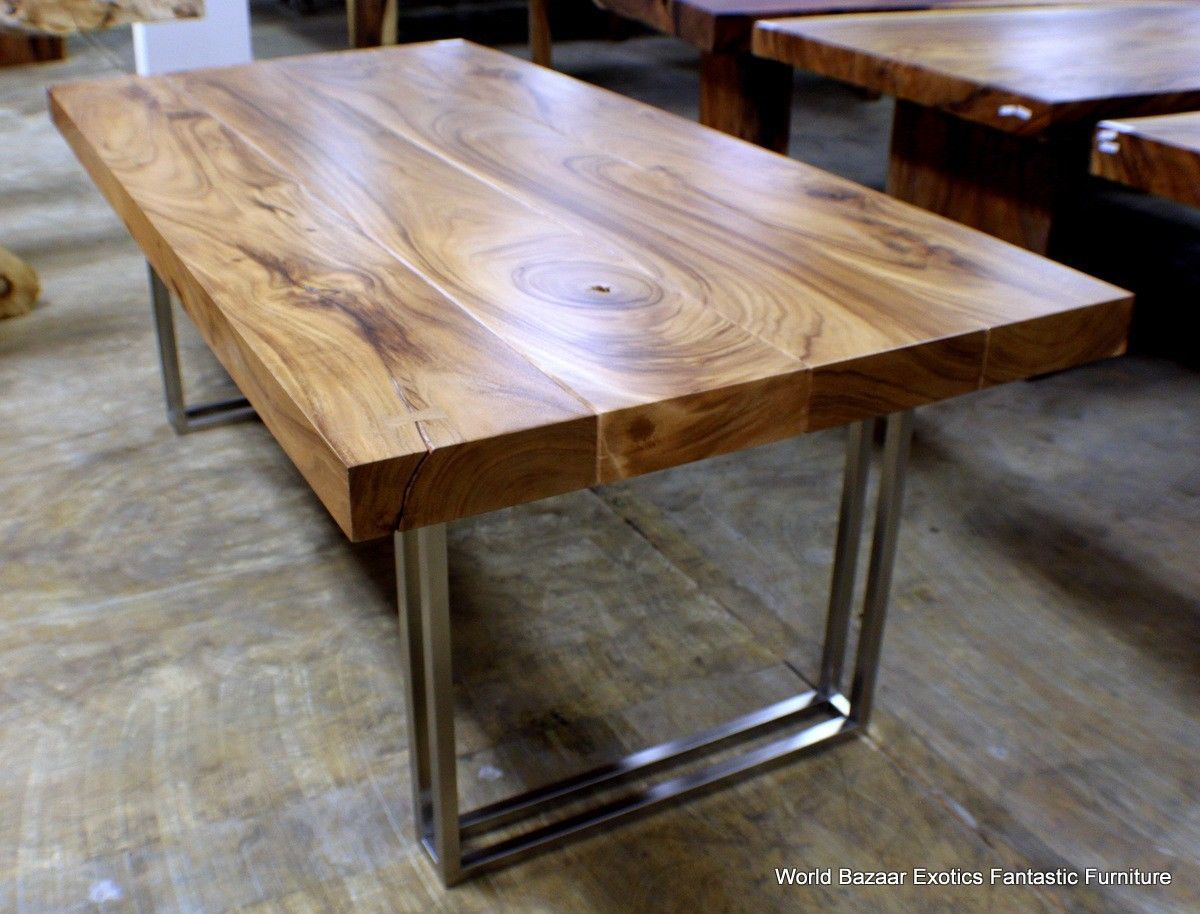 solid wood kitchen tables 79 L modern desk Dining table Exotic solid Acacia wood stainless steel legs
