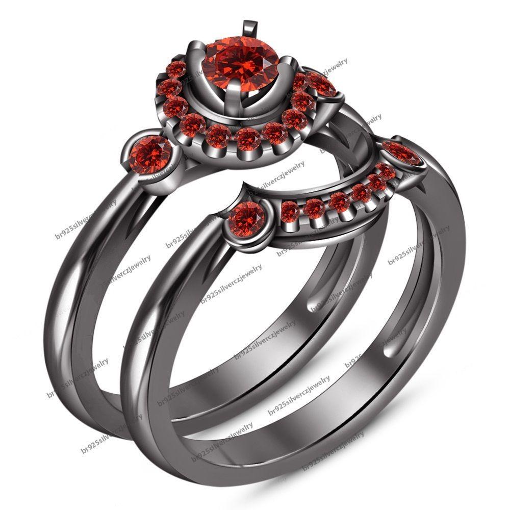garnet wedding rings Fancy Red Garnet Wedding Ring 14k Black Gold FN Silver 2pcs Bridal Ring Set