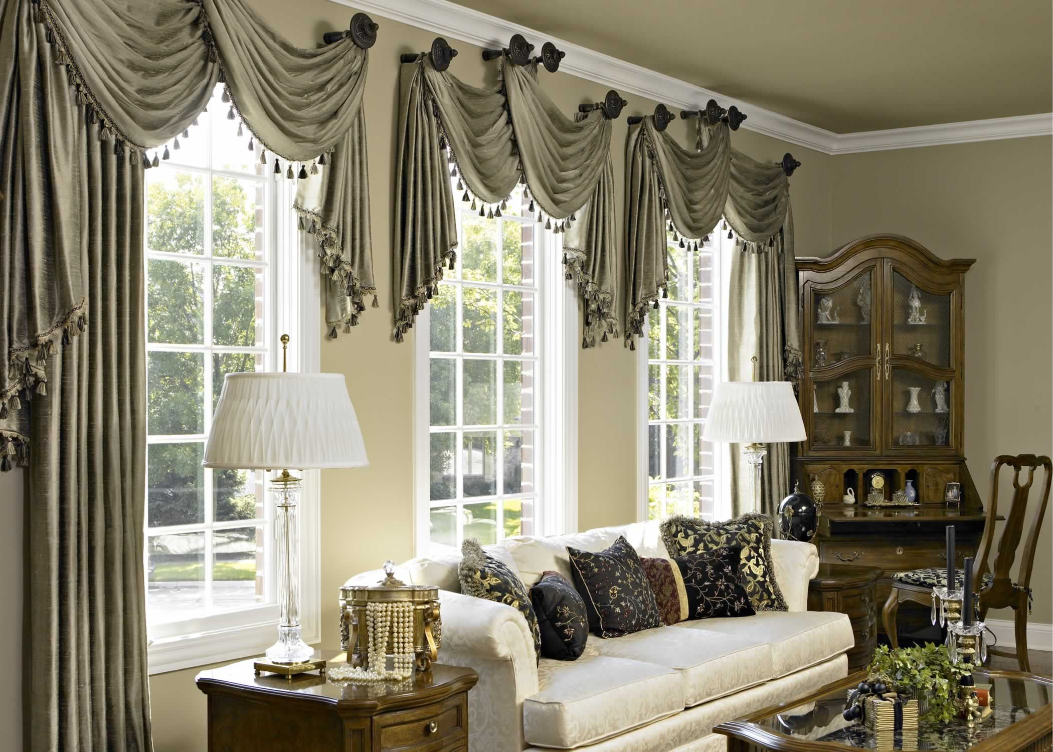 Accesories decors gray fabric scarf over valance as window treatment for spring living room window treatment ideas added white couch and corner cabinetry
