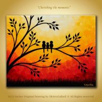 Family birds Artwork, Original Painting 8x10 canvas Wall ...