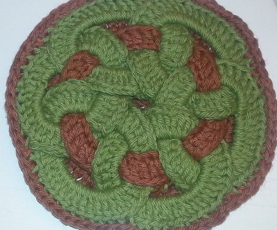 Baby Tapete Neutral Hot Pad Crochet Celtic Knot Interlocking By