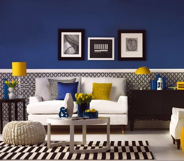 Blue and Yellow Living Room- LOVE Really like the wall color - cozy living room colors