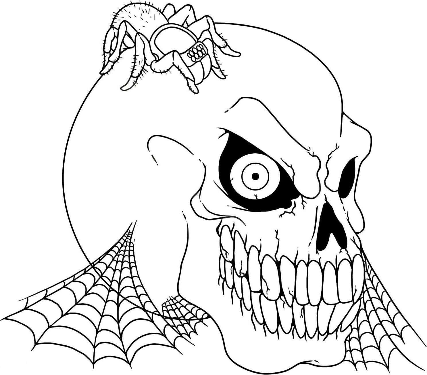 Scary halloween skull and spider coloring pages spider coloring pages halloween skull coloring pages free online coloring pages and printable coloring