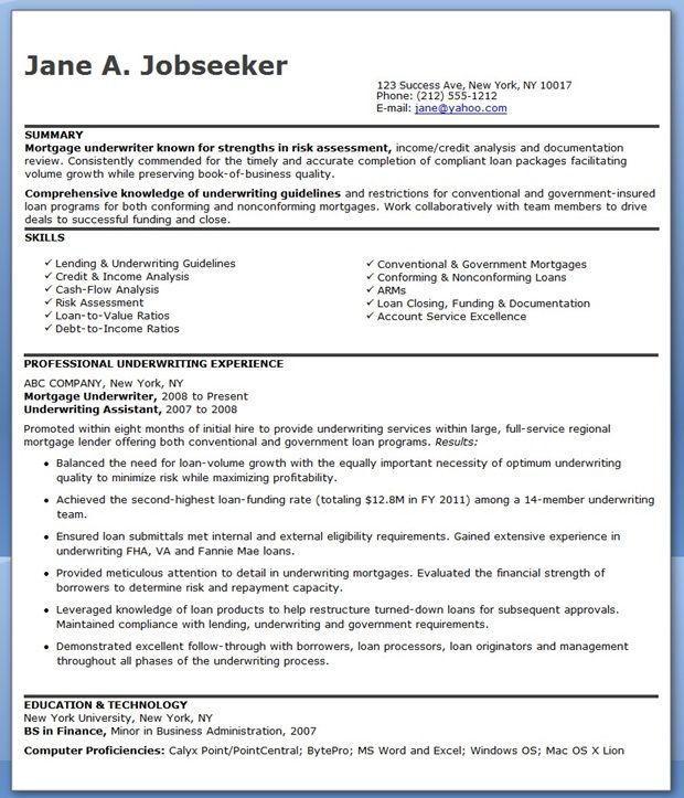 mortgage underwriter resume sample underwriter resume sample - mortgage loan processor resume