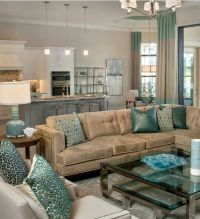 niiiiice! | Brown and Tiffany Blue/Teal Living Room ...