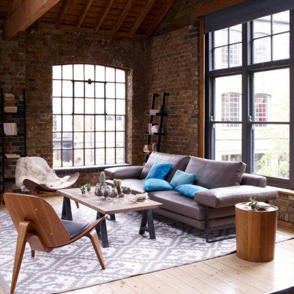 modernes Wohnzimmer einrichten braun lila Holz Möbel - wohnzimmer einrichten brauntone