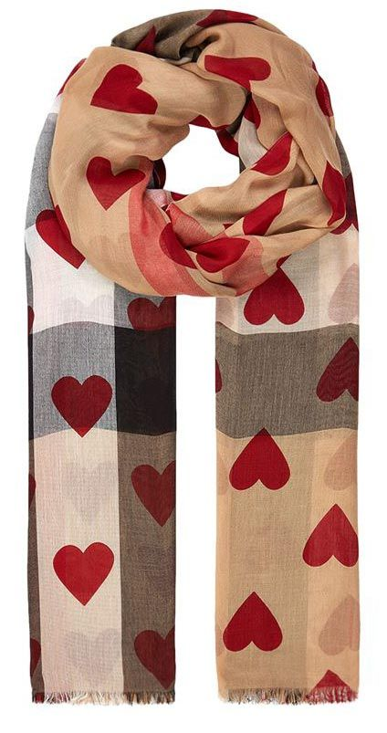 Schal Von Burberry Valentines Gift For Women Burberry Heart Print Check Scarf: Luxurious Scarf In Camel And Red