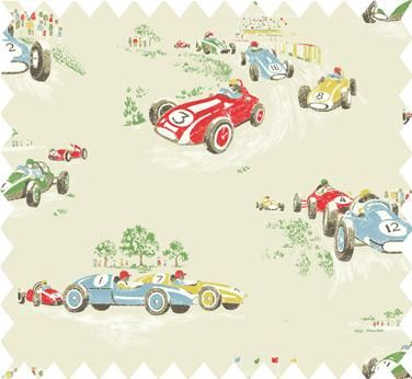 Cath Kidston Vintage Racing Car Wallpaper Cath Kidston Vintage Race Car Print Available In Cotton