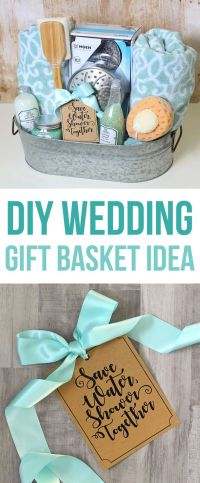 This DIY wedding gift basket idea has a shower theme and ...