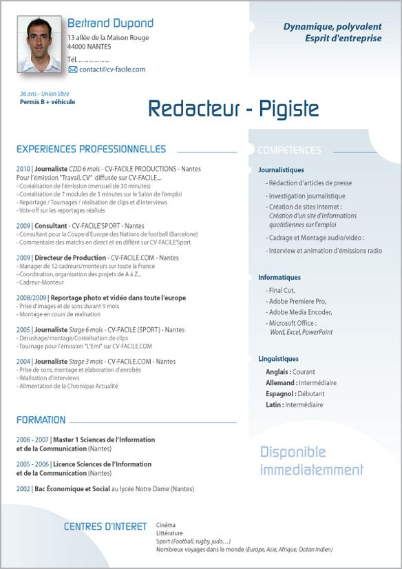 exemple cv consultante recrutement