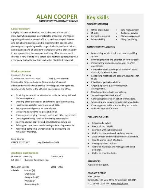 This professionally designed administrative assistant resume shows - admin asst resume
