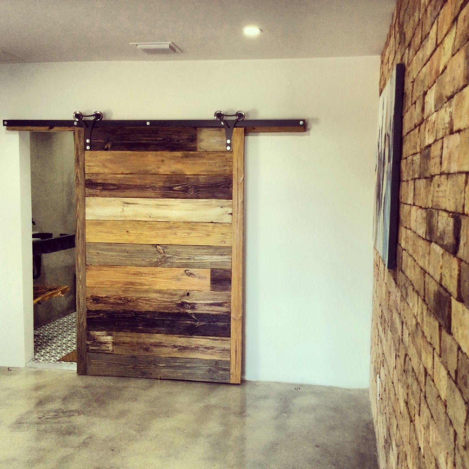 Painted Barn Doors Amazing Large Single Sliding Barn Door With Brick Wall