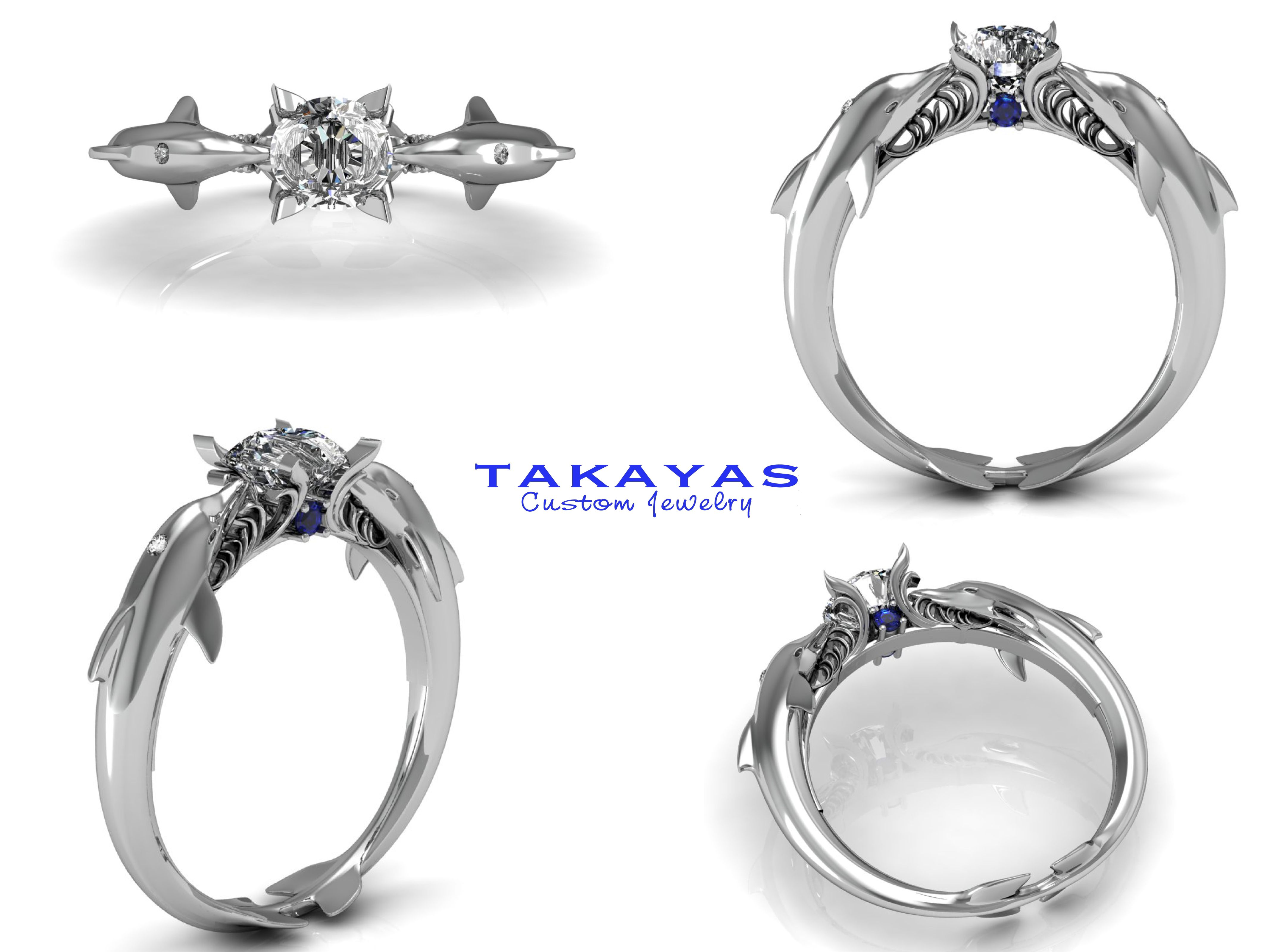 dolphin wedding rings 14K or Platinum Dolphin Engagement ring by Takayas Custom Jewelry