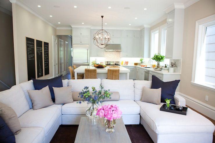 Marsh and Clark - living rooms - open floor plan, white sectional - white sectional living room
