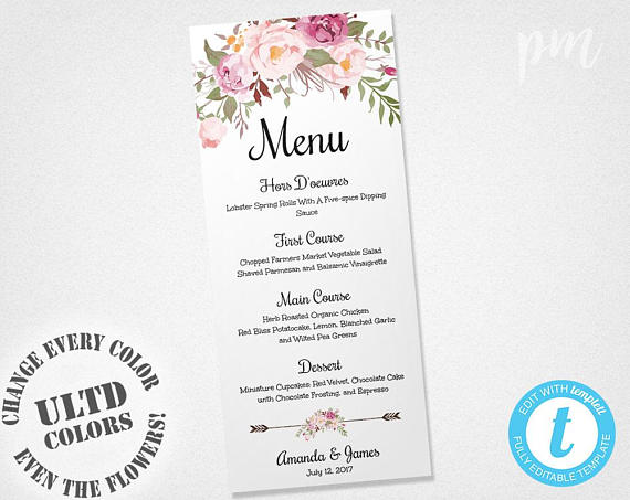 Wedding Menu Template, Printable Menu, Floral Wedding Menu - dinner party menu template