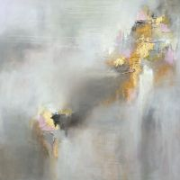 Abstract neutral pink painting with gold leaf Www ...