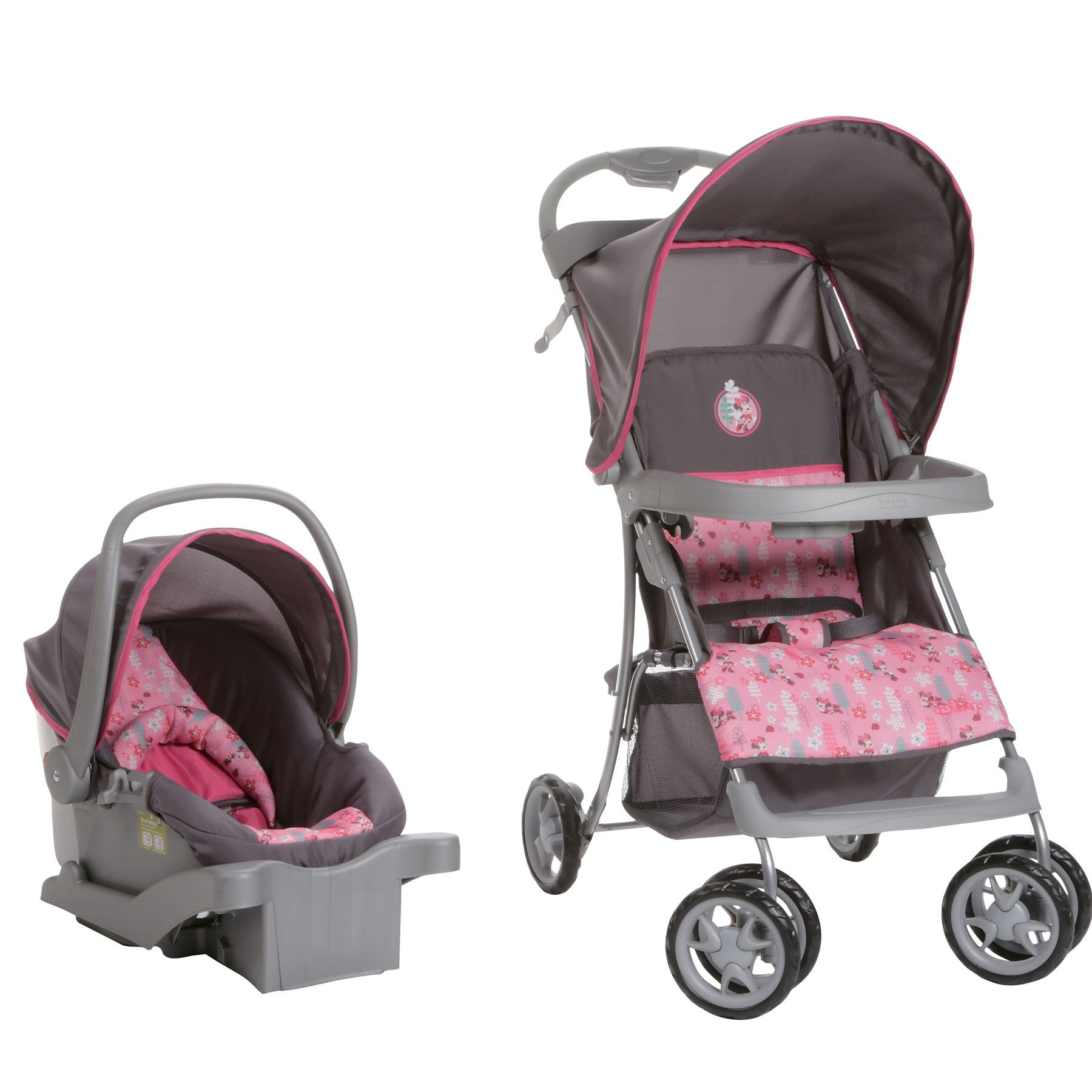 Minnie Mouse Infant Car Seat And Stroller This Pink And Gray Travel System Features A Minnie Mouse