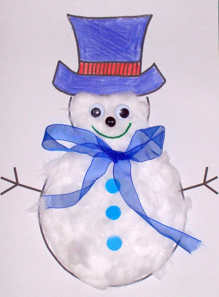 Snowman Winter\/snow themed Storytime Craft Idea Paper\/snowman - snowman template