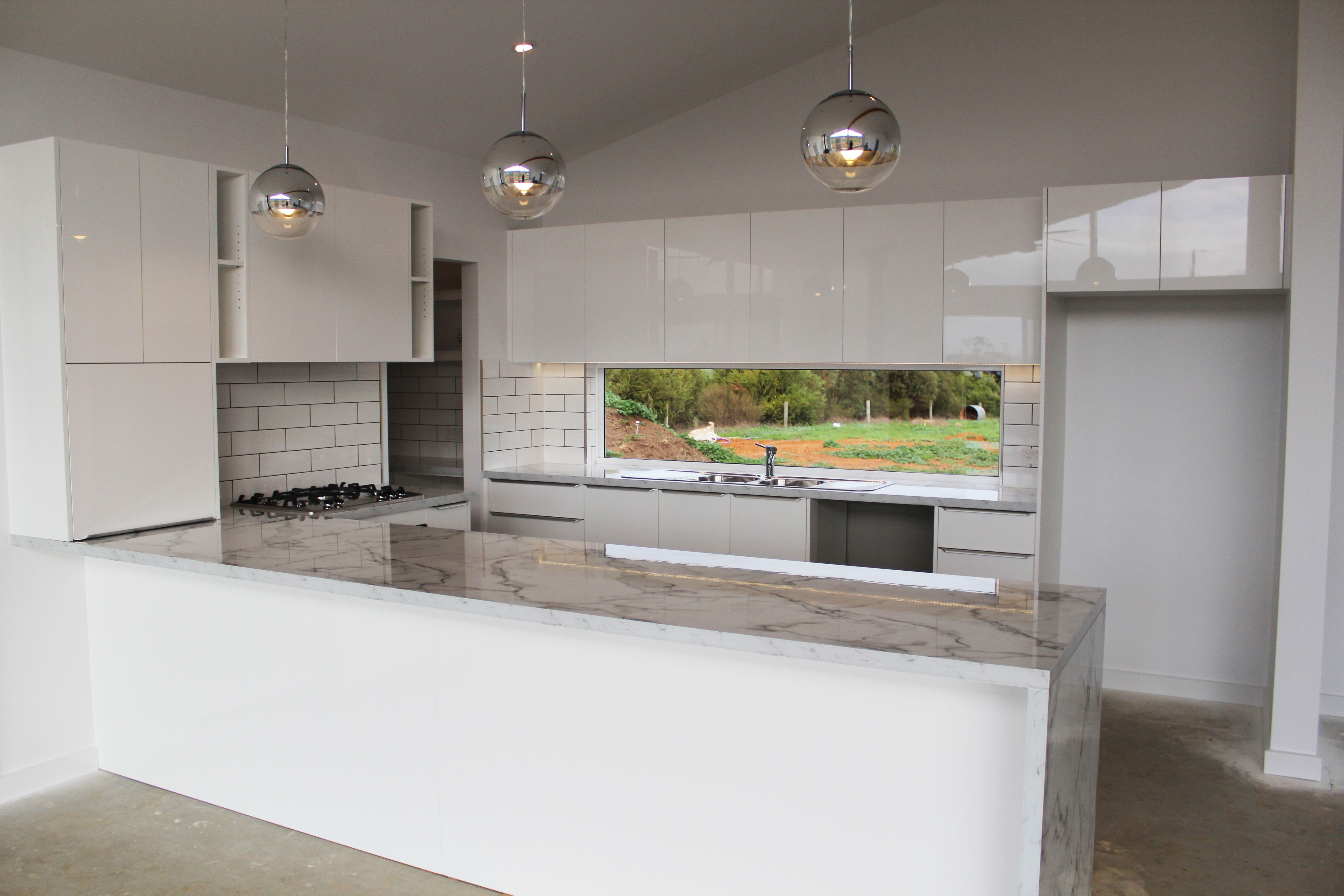 Grey Kitchen Benchtops Benchtop Laminex Carrera Marble Diamond Gloss Panels