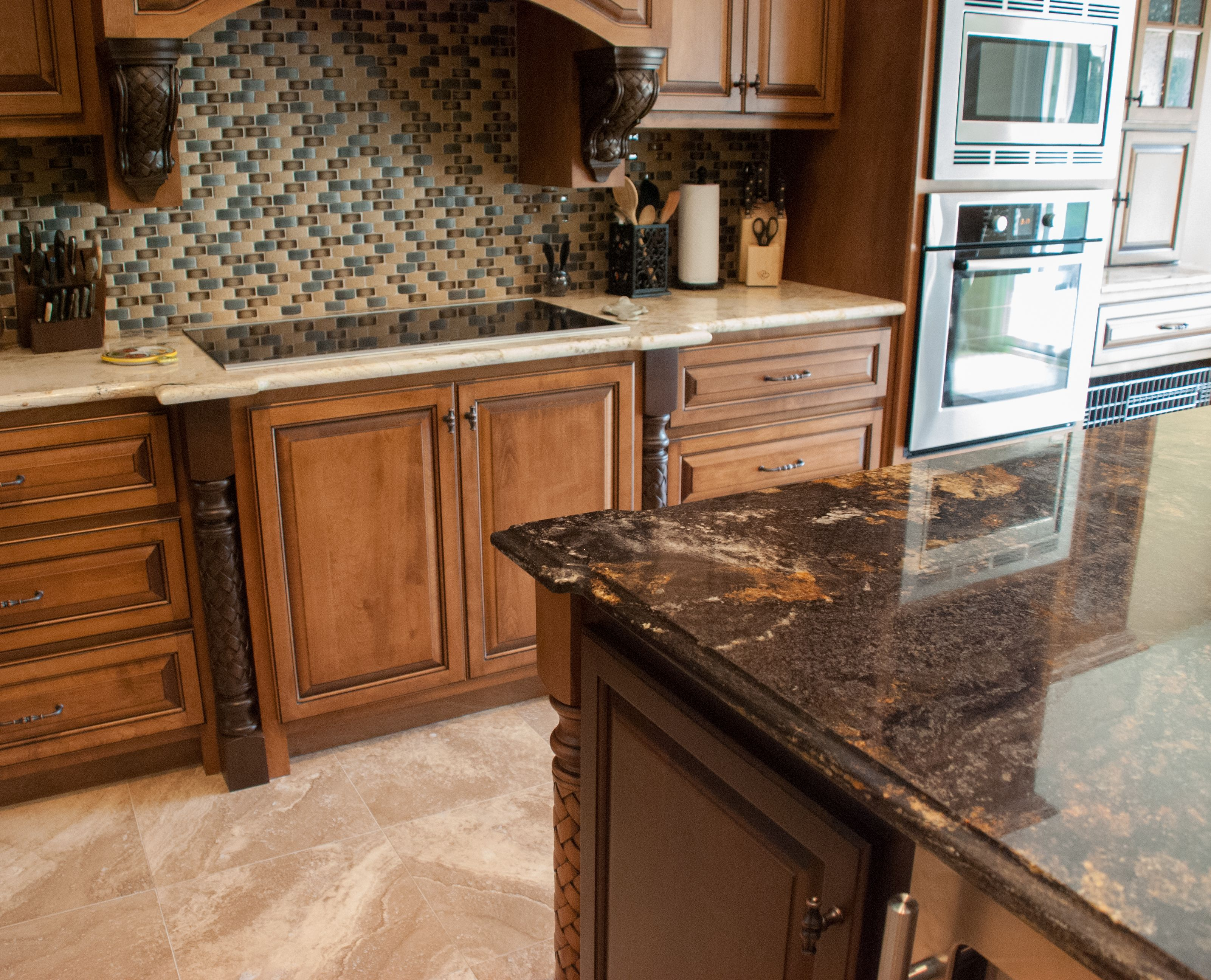 Images Of Granite Countertops In Kitchen Contrasting Island And Main Countertops Granite Kitchen