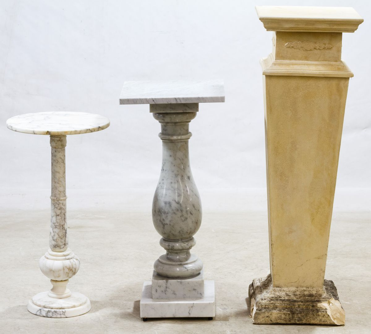 White Pedestal Plant Stands Lot 602 Marble And Plaster Plant Stands Three Items