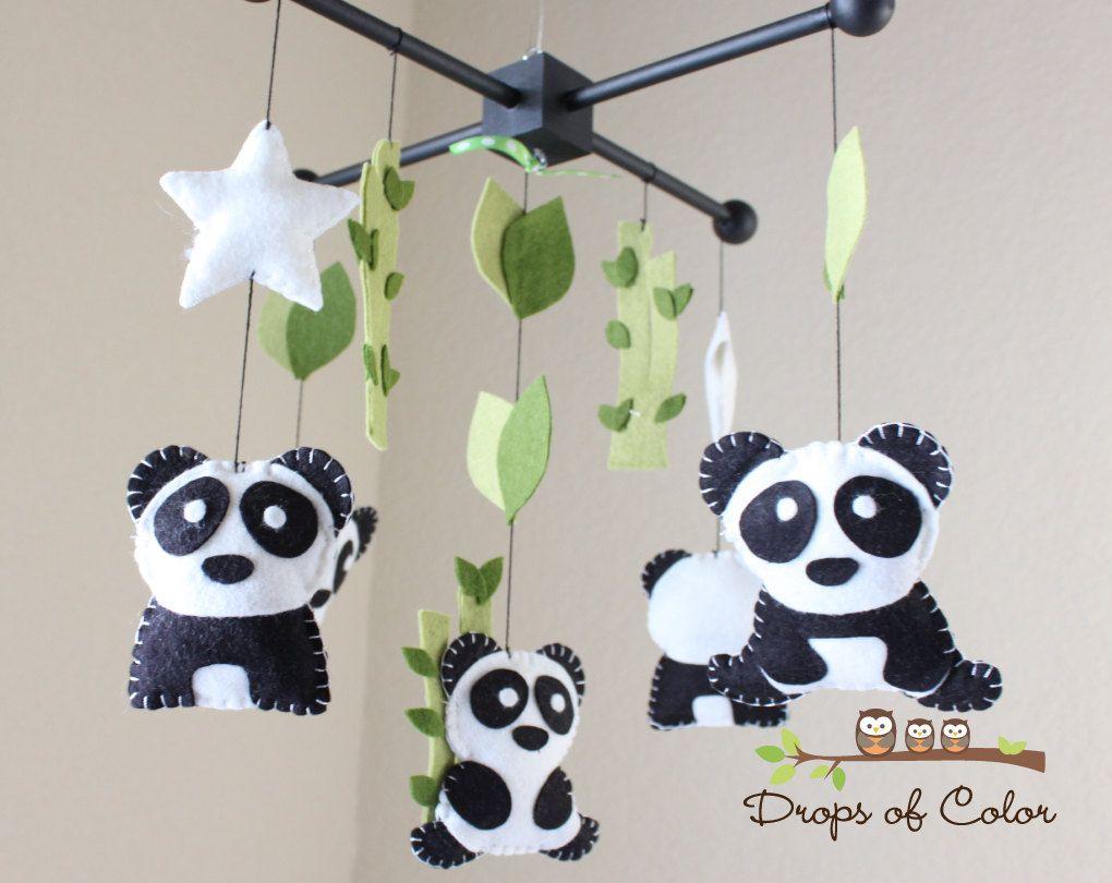Baby mobile baby crib mobile nursery family pandas mobile panda mobile bamboo