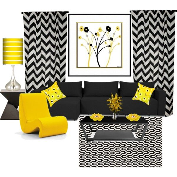 Yellow and Black Living Room - black living room sets