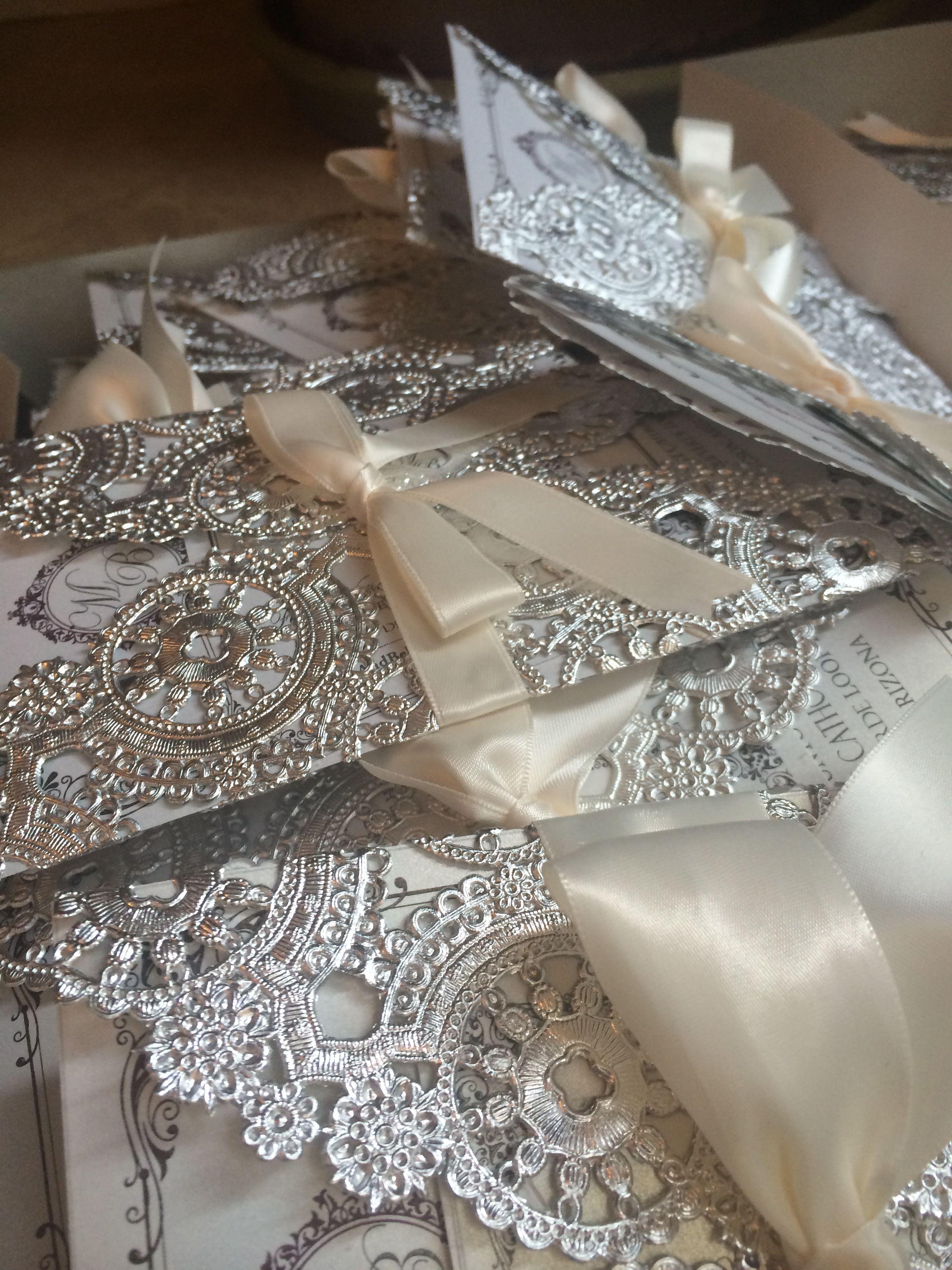 Customized Diy Wedding Invitations Metallic Doilies