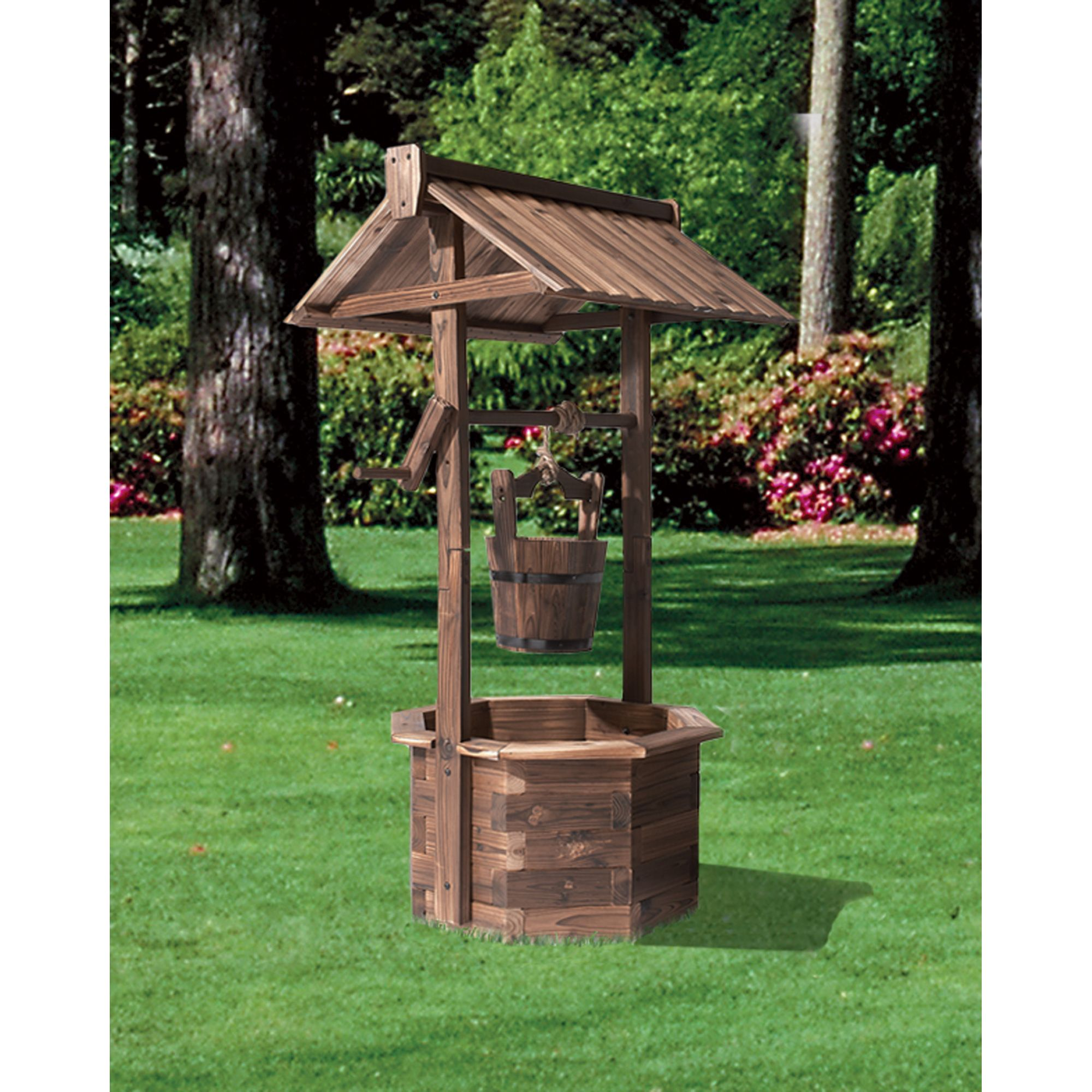 Stonegate designs wooden wishing well planter burnt finish model xl310