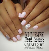 Short nails, natural nails with gel, nail art, pink nails ...