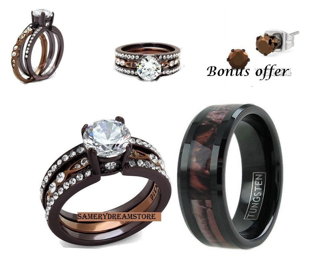 camo mens wedding band His camo and hers brown men s women s cz stainless steel engage wedding ring set