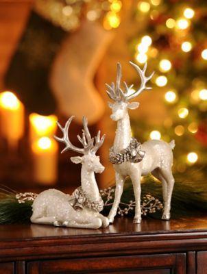 White Deer Statue, Set of 2 Stockings, Deer and Backgrounds - kirklands christmas decor