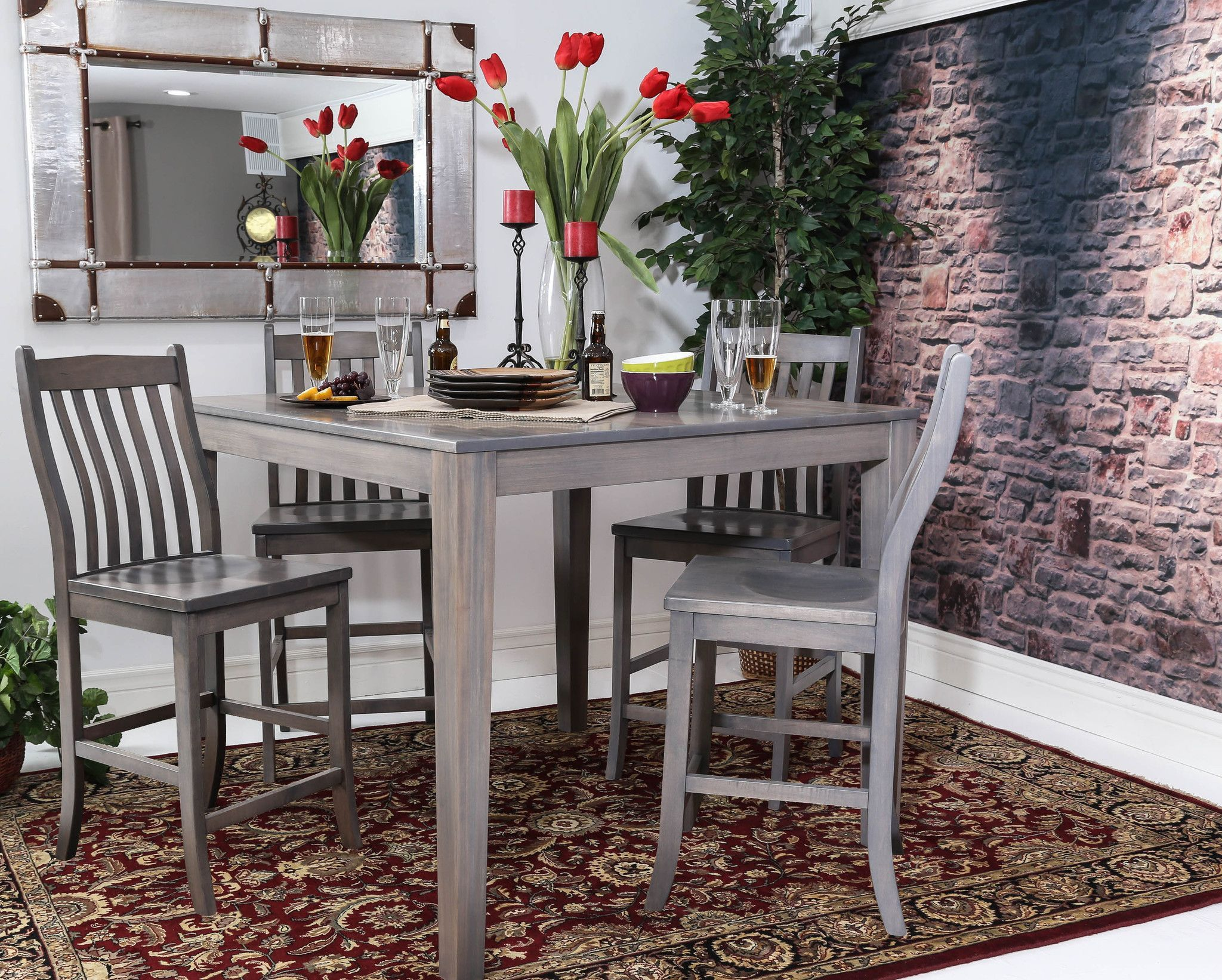 Countertop Table Sets Counter Height Square Solid Maple Wood Table And Chair Set