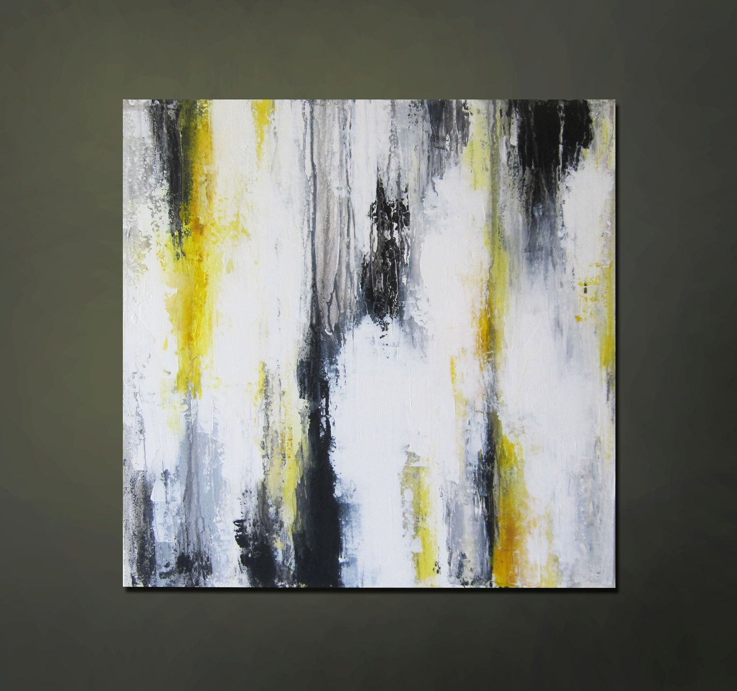 Black White And Gray Paintings Modern Contemporary Abstract Yellow Gray Black White