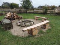Our home made fire pit benches from cedar. Ripped with a ...