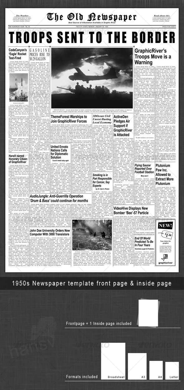 1950s Newspaper Template Front Page \ Inside Page Newspaper - newspaper headline template