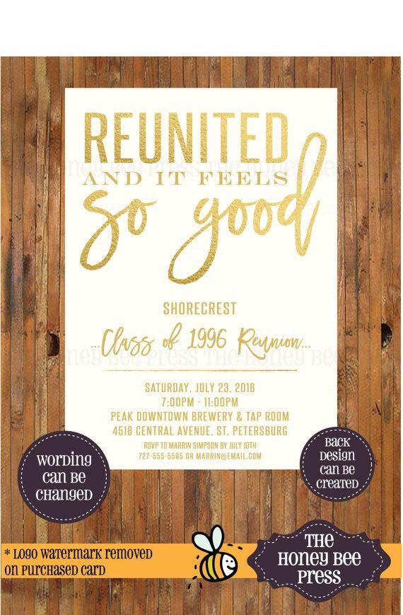 High School Reunion Invitation Reunited and by TheHoneyBeePress - class reunion invitation template